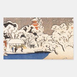 Ein Schneesturm an Kinryozan Tempel durch Utagawa Rechteckiger Aufkleber