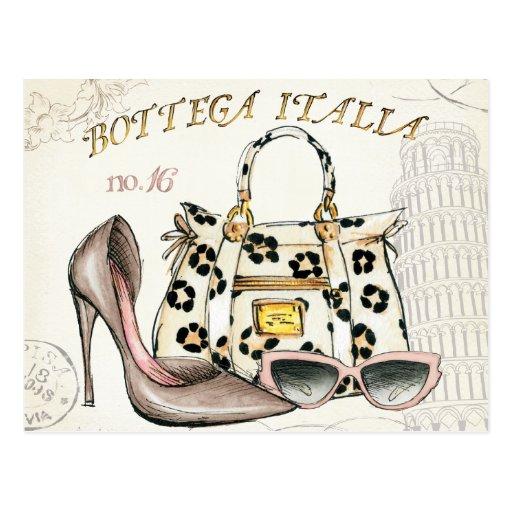 Ein Schuh, eine Tasche und ein Paar Gläser Postkarte