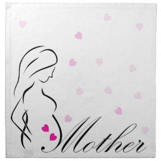 Ein schwangeres Mutter-zu-ist mit rosa Serviette