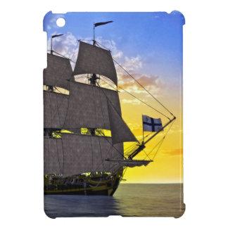 Ein schwarzes Korvette-Segelschiff vor dem Sun iPad Mini Hülle