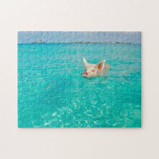 Ein Schwein geht, in den Bahamas zu schwimmen Puzzle
