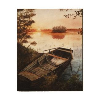 Ein See am Sonnenuntergang Holzleinwand