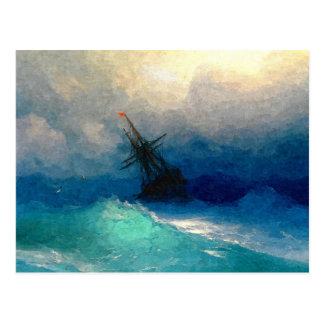 Ein Segelschiff in einem Sturm Postkarte