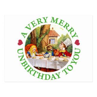 Ein sehr fröhliches Unbirthday zu Ihnen! Postkarte