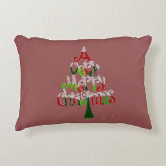 Ein sehr fröhliches Weihnachtsbaum-Akzent-Kissen Dekokissen