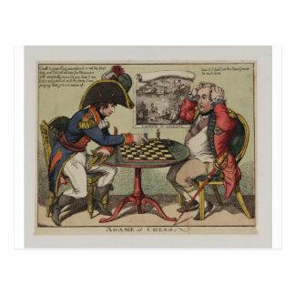 Ein Spiel am Schach Postkarte
