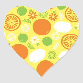 Ein Spritzen der Zitrusfrucht Herz-Aufkleber