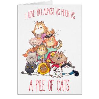 Ein Stapel des Katzen-Valentinsgrußes Karte