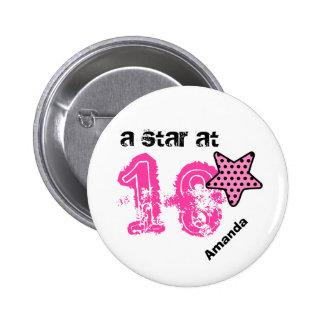 Ein Stern bei 18 ROSA PUNKTE Geburtstags-Geschenk Runder Button 5,1 Cm