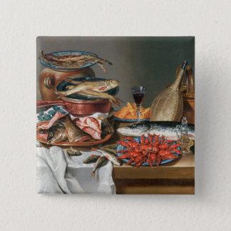 Ein Stillleben von ein Fisch-, Forelle-und Quadratischer Button 5,1 Cm