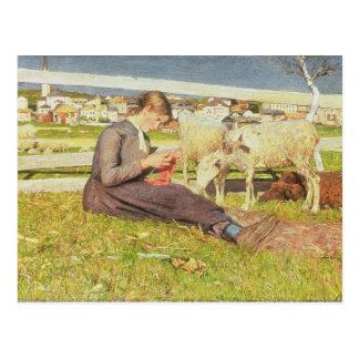 Ein strickendes Mädchen, 1888 (Öl auf Leinwand) Postkarte