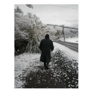 Ein Stroll im Schnee Postkarte