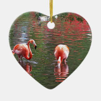 Ein Stück vom Paradies Flamingos Keramik Ornament