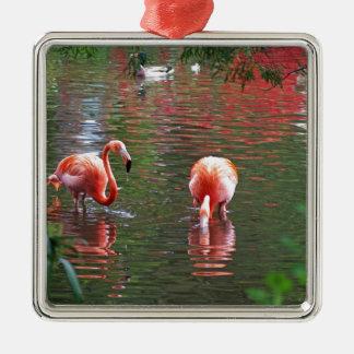 Ein Stück vom Paradies Flamingos Silbernes Ornament