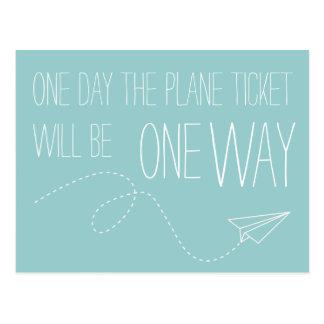 Ein Tag ist die Flugzeug-Karte eine Postkarte