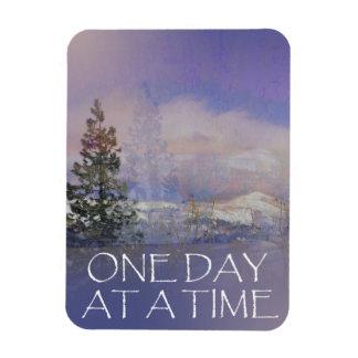 Ein Tagesauf einmal Baum-Hügel-Schnee Magnet