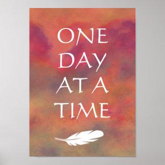 Ein Tagesauf einmal Orangen-Wolken weißer Feathe Poster