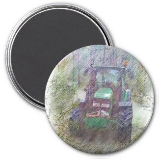 Ein Traktor im Wald Runder Magnet 7,6 Cm