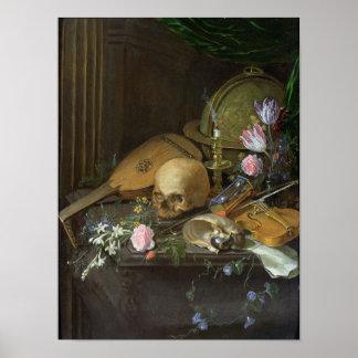 Ein Vanitas Stillleben mit einem Nautilus und eine Poster