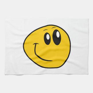Ein verworfener gelber glücklicher smiley küchentuch
