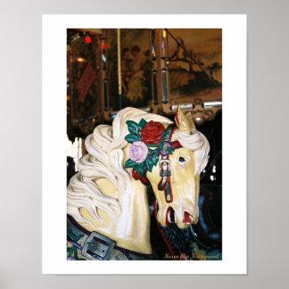 Ein Vintages Karussell-Pferd Poster