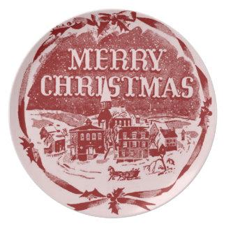 Ein Vintages Weihnachten Flache Teller