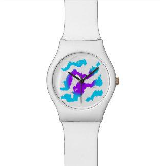 Ein violetter Sun und Wolken Armbanduhr