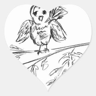 Ein Vogel, die Vorlage tweeten Herz-Aufkleber