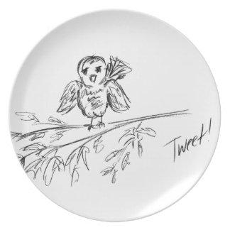 Ein Vogel, die Vorlage tweeten Melaminteller
