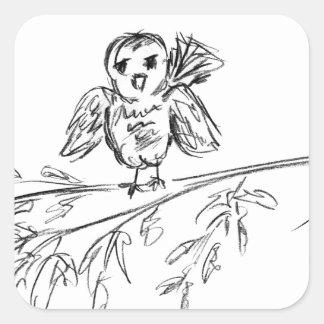Ein Vogel, die Vorlage tweeten Quadratischer Aufkleber