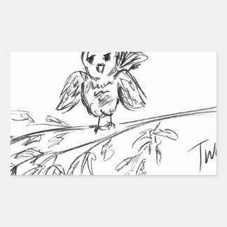 Ein Vogel, die Vorlage tweeten Rechteckiger Aufkleber