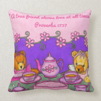 Ein wahres Freund-Liebe jederzeit ~Bears Tee-Party Kissen