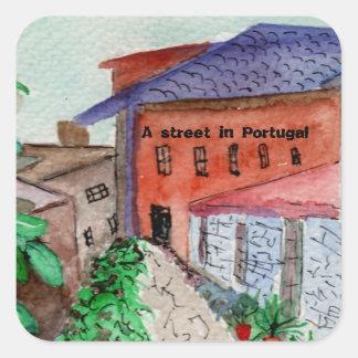 Ein watercolored Aufkleber einer Straße in