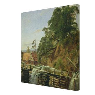 Ein Watermill in Christiania c 1834 Leinwanddruck