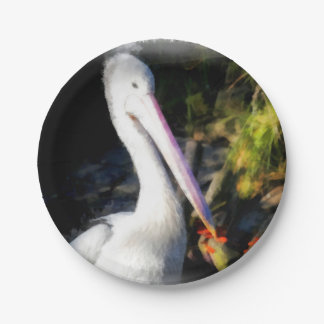 Ein weißer Vogel und sein großer Schnabel Pappteller