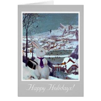 Ein weißes Kaninchen-Weihnachten - Vintage Grußkarte