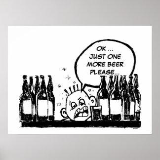 ein weiteres Bier, cooler betrunkener Cartoon Poster