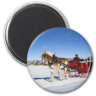 Ein Western-Weihnachten - PferdeweihnachtsSleigh Runder Magnet 5,7 Cm