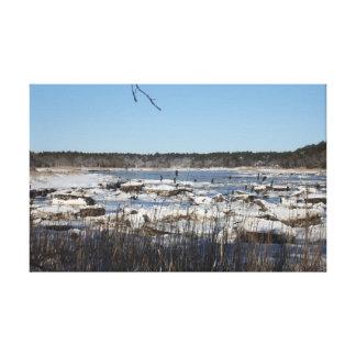 Ein Winter auf dem Weweantic Fluss Leinwanddruck