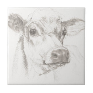 Ein Zeichnen einer jungen Kuh Fliese