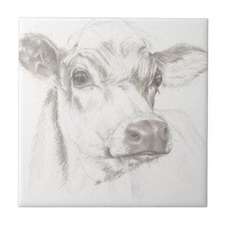 Ein Zeichnen einer jungen Kuh Kleine Quadratische Fliese