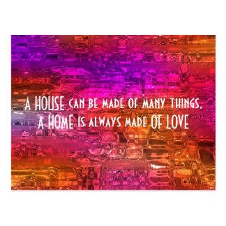 ein Zuhause wird immer von der Liebe, Zitat Postkarte