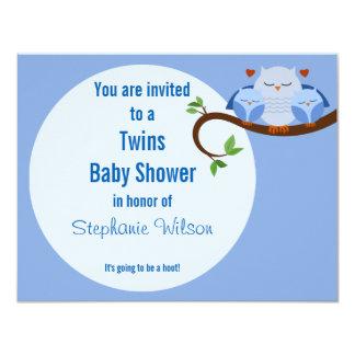 Ein Zwillings-Schrei ein der Babyparty-Blau-Eulen 10,8 X 14 Cm Einladungskarte