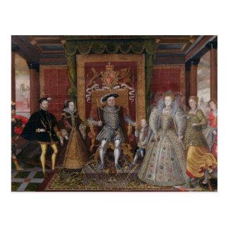 Eine Allegorie der Tudor Reihenfolge: Die Familie Postkarte