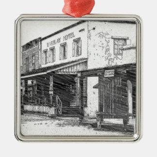 Eine alte Western-Stadt Silbernes Ornament