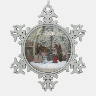 Eine altmodische Schneeflockeverzierung Schneeflocken Zinn-Ornament