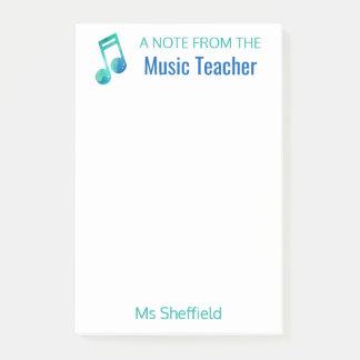 Eine Anmerkung vom Musik-Lehrer-personalisierten Post-it Haftnotiz