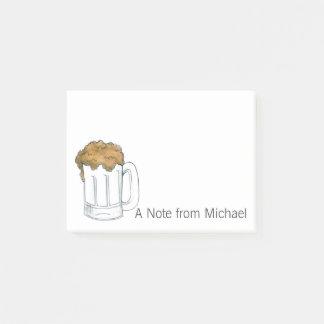 Eine Anmerkung von der personalisierten Bier-Tasse Post-it Klebezettel
