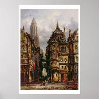 Eine Ansicht in das jüdische Viertel, Frankfurt, 1 Posterdrucke