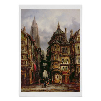 Eine Ansicht in das jüdische Viertel, Frankfurt, Poster